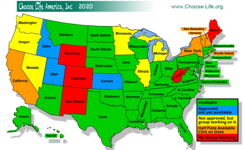License Plate State Map.Choose Life America Choose Life Org Choose Life Specialty License